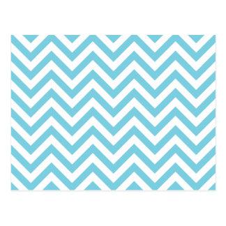 Blue and White Zigzag Stripes Chevron Pattern Postcard