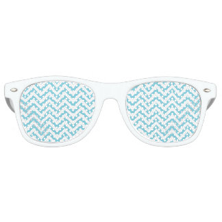 Blue and White Zigzag Stripes Chevron Pattern Retro Sunglasses