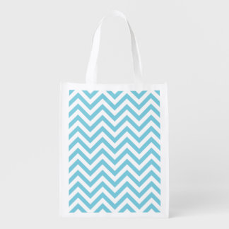 Blue and White Zigzag Stripes Chevron Pattern Reusable Grocery Bag
