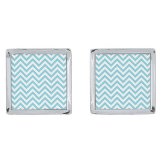 Blue and White Zigzag Stripes Chevron Pattern Silver Finish Cuff Links