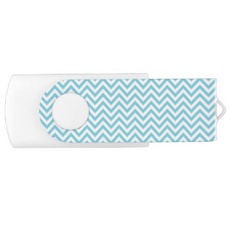 Blue and White Zigzag Stripes Chevron Pattern USB Flash Drive