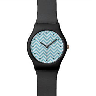 Blue and White Zigzag Stripes Chevron Pattern Watch