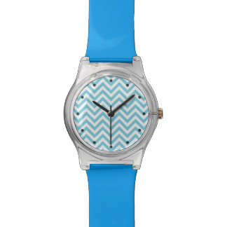 Blue and White Zigzag Stripes Chevron Pattern Watch