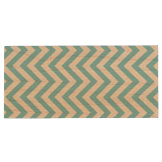 Blue and White Zigzag Stripes Chevron Pattern Wood USB Flash Drive
