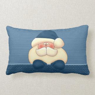 Blue and Winter White Santa Reversible Lumbar Cushion