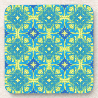 Blue and Yellow Abstract 7237 by celeste@khoncepts Coaster