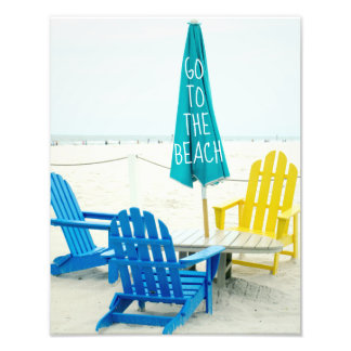Blue and Yellow Adirondack Chairs on the Beach Photograph