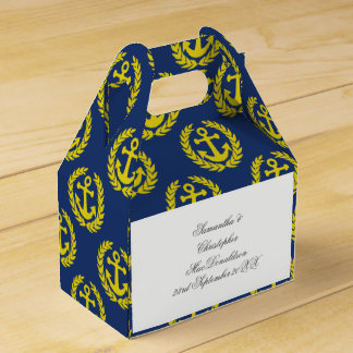 Blue and yellow  anchor nautical themed wedding favour boxes