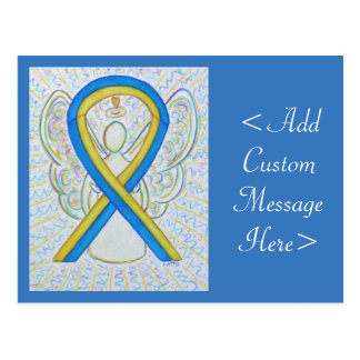 Blue and Yellow Awareness Ribbon Angel Postcard
