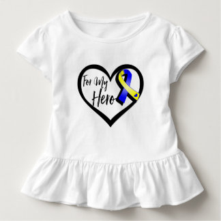 Blue and Yellow Awareness Ribbon For My Hero Tee Shirts