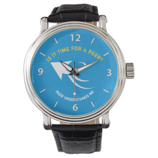 Blue and yellow beer quote watch