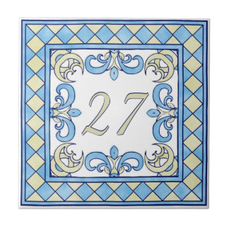 Blue and Yellow Big House Number Small Square Tile