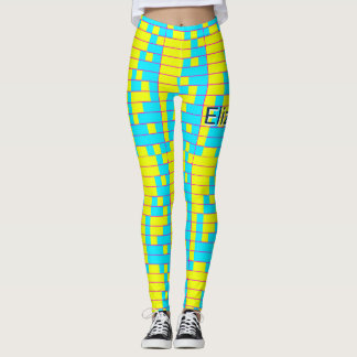 Blue and Yellow Binary Fibonacci Geometric Pattern Leggings