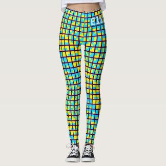 Blue and Yellow Binary Geometric Block Pattern Leggings
