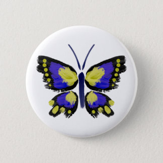 Blue and Yellow Butterfly 6 Cm Round Badge