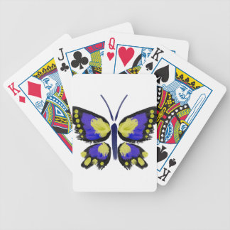Blue and Yellow Butterfly Bicycle Playing Cards