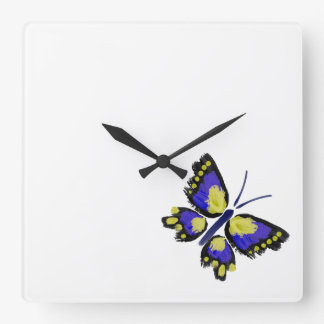 Blue and Yellow Butterfly Square Wall Clock