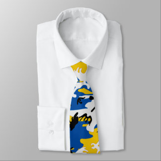 Blue and Yellow Camo Tie