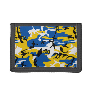 Blue and Yellow Camo Tri-fold Wallet