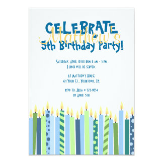 Blue and Yellow Candles Boys Birthday Invite