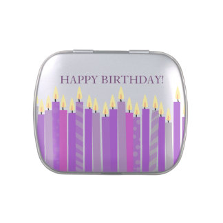 Blue and Yellow Candles Boys Birthday Jelly Belly Candy Tin