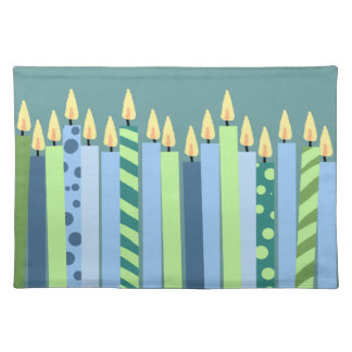 Blue and Yellow Candles Boys Birthday Place Mats