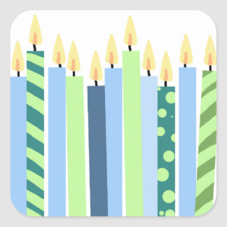 Blue and Yellow Candles Boys Birthday Square Sticker