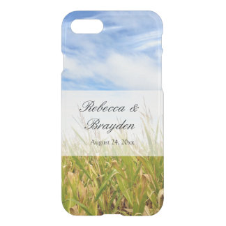 Blue and Yellow Cornfield Farm Country Wedding iPhone 7 Case