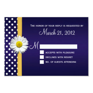 Blue and Yellow Daisy RSVP Card 9 Cm X 13 Cm Invitation Card