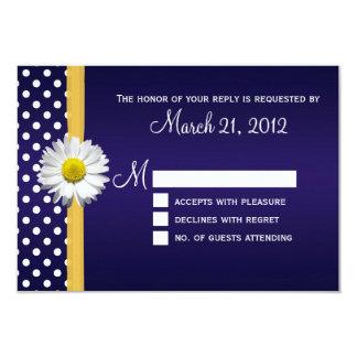 Blue and Yellow Daisy RSVP Card 9 Cm X 13 Cm Invitation Card