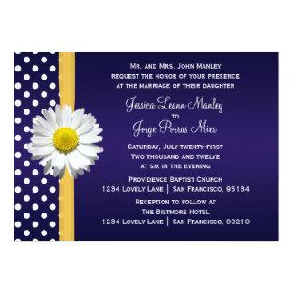 Blue and Yellow Daisy Wedding Invitation