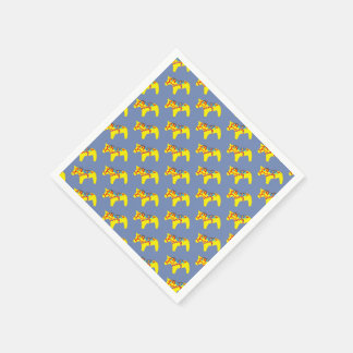 Blue and Yellow Dala Horses Disposable Serviette