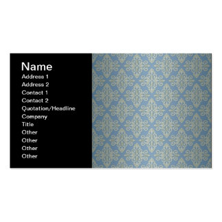 Blue and Yellow Damask Pattern Double-Sided Standard Business Cards (Pack Of 100)