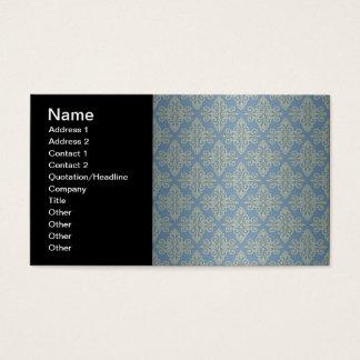 Blue and Yellow Damask Pattern Business Card
