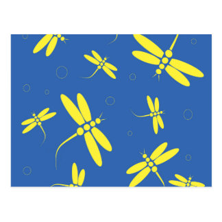 Blue and yellow dragonflies pattern postcard