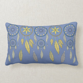Blue and Yellow Dream Catchers Lumbar Cushion