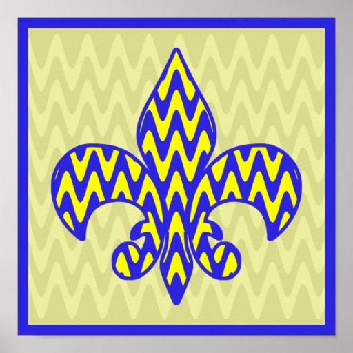 Blue and Yellow Fleur de lis Print