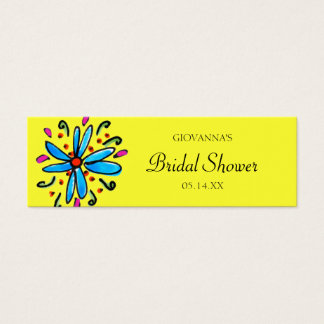 Blue and Yellow Floral Gift Tags Mini Business Card