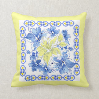 Blue and Yellow Floral Pillow w/Yellow Background