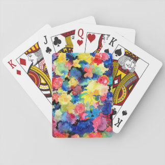 Blue and Yellow Floral Playing Cards