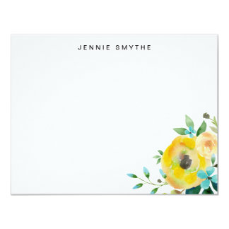 Blue and Yellow Floral Thank You Flat Note Card