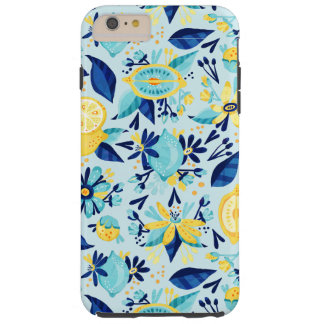Blue And Yellow Flowers And Lemons Tough iPhone 6 Plus Case