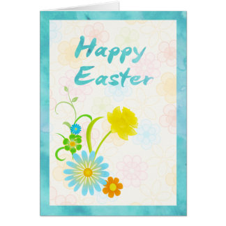 Blue and Yellow Flowers Happy Easter Card