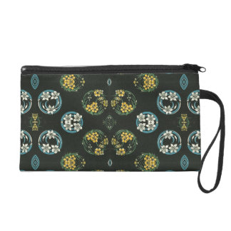 Blue and Yellow FLowers on Black Wristlet Purse