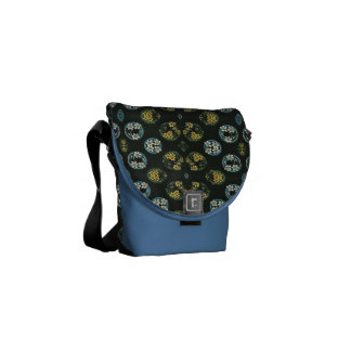 Blue and Yellow FLowers on Black Courier Bags