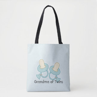 Blue and Yellow Grandma Mom Aunt Sister of Twins Tote Bag