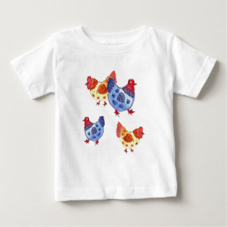 blue and yellow hens several shirts