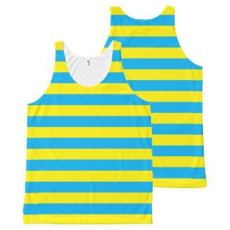 Blue and Yellow Horizontal Stripes All-Over Print Tank Top