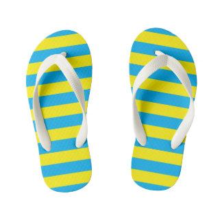Blue and Yellow Horizontal Stripes Kid's Thongs