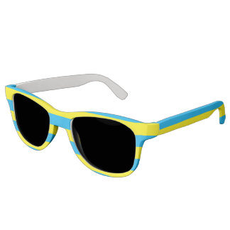 Blue and Yellow Horizontal Stripes Sunglasses